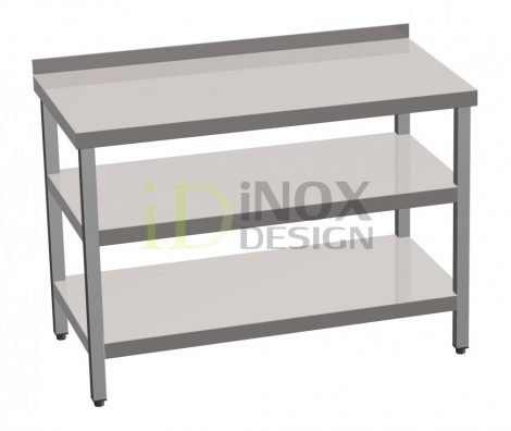 Munkaasztal alsó és köztes polccal, hátsó felhajtással - 700-as széria