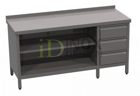 Tároló asztal fiókkal, hátsó felhajtással - 600-as széria