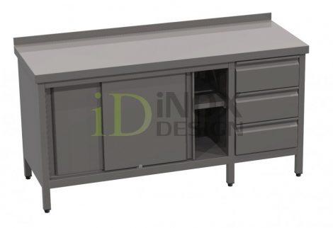 Tolóajtós tároló asztal fiókkal, hátsó felhajtással - 600-as széria