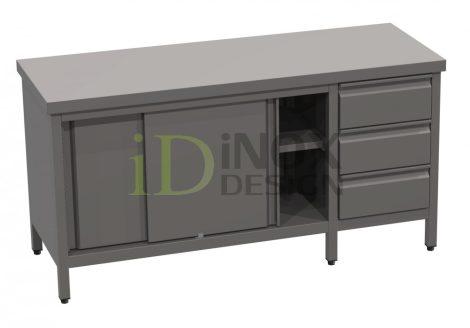 Tolóajtós tároló asztal fiókkal - 600-as széria